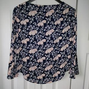 Pretty Ann Taylor Black floral blouse xxs petite